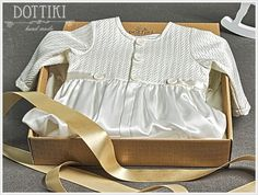 Silk Christening Gown  Ivory Christening Outfit for by DOTTIKI