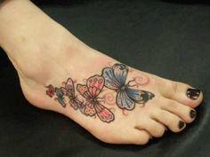 Foot Tattoo # 108 - Beautiful butterflies tattoo on foot.  This foot tattoo has the most beautiful butterflies in the world:)
