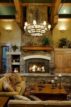 Edgewood Custom Log Homes - Grand Fireplace