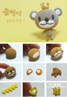 DIY fimo / clay / fondant little bear with crown  #howto #tutorial #diy #fimo #clay #fondant #bear