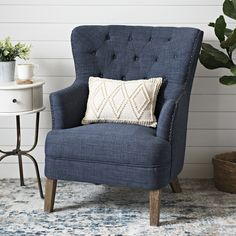 Navy Tufted Accent Chair with Nailhead Trim. The smooth fabric on this Navy Tufted Accent Chair with Nailhead Trim give this sleek chair a classic twist. You'll love the richness of its walnut wood legs contrasted with its soft colored upholstery. Light Blue Accent Chair, Orange Accent Chair, Blue Accent Chairs, Tufted Accent Chair, Accent Chairs For Living Room, My Living Room, Living Room Furniture, Farmhouse Accent Chairs, Blue Wingback Chair