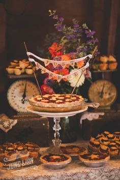 Barn wedding reception. Dessert table. Vintage scales. Mini fruit pies. Burlap just married pie topper. Barn wedding. Rustic wedding.