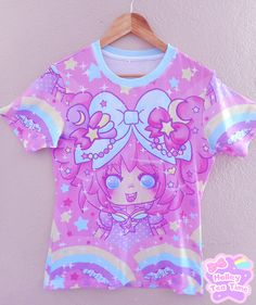 ☆ Bubbles Rainbow Land ☆ all over print t-shirt made to order ✧ Fairy kei ✧ Decora kei