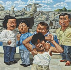 bildwerk: YANG SHAOBIN Fun, 1992 Oil on canvas. 100 x 100 cm Together with Yue Minjun and Fang Lijun, Yang Shaobin has emerged as one of the leading voices in contemporary Chinese painting. Yang's work was influenced by the painterly traditions of Social Realism; but his interest in psychology and physiognomy can already be detected in early works such as Fun. Dating from 1992, it depicts a scene of five figures standing before a Chinese garden landscape. With varied expressions, the ...