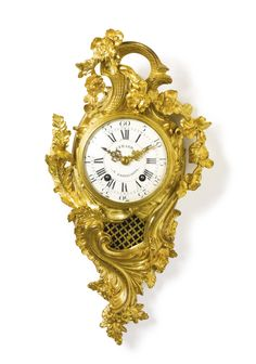 A Louis XV ormolu cartel clock, attributed to Jean-Joseph de Saint-Germain circa ormolu, dial signed Gerard a Sarrelouis — USD LOT SOLD. USD (Hammer Price with Buyer's Premium) Baroque, Rococo, Antique Clocks, Art Decor, Art Nouveau, Auction, Saint Germain, Wall Clocks, Antiques