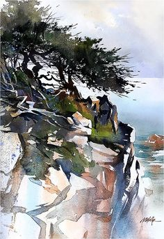 California Coast by Thomas W. Schaller Watercolor ~ 22 x 15 inches
