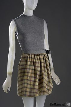 1946___ Bathing sSuit, Skirt, grey, yellow, and white wool jersey. by Claire McCardell. USA. The Museum at FIT