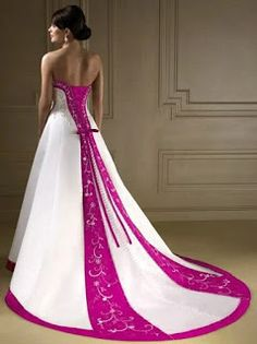 V Neck Line White and Hot Pink Wedding Dress ~ Rubias Collection ...