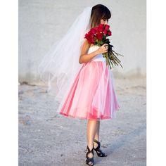 Rockin' that Rock n' Roll bridal look, pretty in pink, tulle skirt, alternative bride , daring, chic