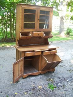 Antique Hoosier Sellers Cabinet RARE Find in This Oak Barrel Drum Drawers | eBay
