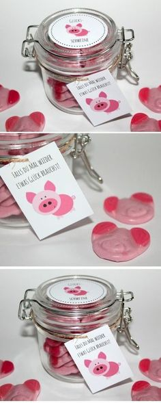 Do you need some luck DIY homemade gifts from a jar - lucky .Do you need some luck DIY homemade gifts from a jar - lucky pigs adventskalenderbasteln DIY mason jar lucky pigs + Free Pot Mason Diy, Mason Jars, Jar Gifts, Food Gifts, Diy Birthday, Birthday Presents, Birthday Present Diy, Advent Calendar Gifts, Diy 2019