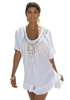 Roaman's® Jeweled Angel Coverup | Plus Size Swimsuit Cover-ups | Woman Within