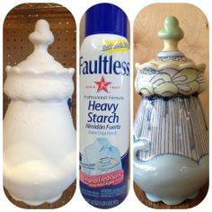 Spray starch for transporting glazed but unfired pottery - DeBuse-On-The-Loose
