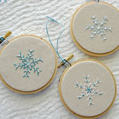 Christmas Ornament Hoop Art Snowflake Hostess Gift Natural Linen Hand Embroidery Set of Three Black Friday Etsy Cyber Monday Etsy