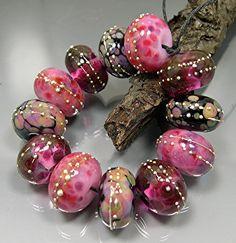 Lampwork Glass Bead Set Donna Millard Cranberry Wine Pink Black Strawberry