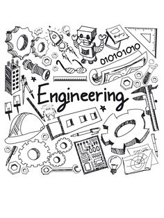 mechanical electrical civil chemical and other engineering education profession handwriting doodle icon tool sign and symbol in white isolated background paper used for presentation title (vector) Civil Engineering Design, Engineering Quotes, Chemical Engineering, Aerospace Engineering, Doodle Icon, Doodle Art, History Education, Sketch Notes, Science Art
