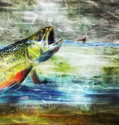 Fly fishing contemporary and abstract artwork