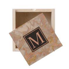 #gold - #Modern Faux Rose Gold Marble Swirl Monogram Wooden Keepsake Box