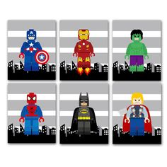 PICK 3, super hero wall decor, wall art prints, PICK 3 out of 8 super hero choices, shipped to your door, nursery/playroom/bedroom prints