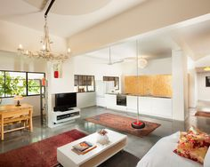 Living Room Bamboo Floors Concrete Design, Pictures, Remodel, Decor and Ideas - page 4
