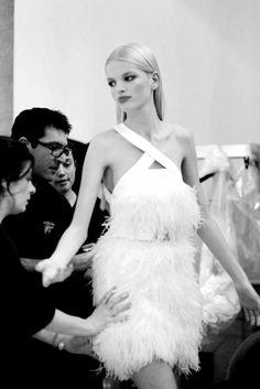 Versace F/W Model: Daphne Groeneveld. Fashion Models, High Fashion, Daphne Groeneveld, Libra Women, Models Backstage, Lesage, Feather Dress, Miranda Kerr, Role Models