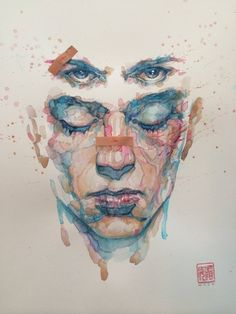"Fight Club 2 Art by David Mack. Date: May 27 2015. Water colours, brushes. David Mack in an interview has said that ""they is so many just as powerful visual icons in this story that build of of the icons previously, but other their own thing"" Which is what Mack intended to do with this new cover."