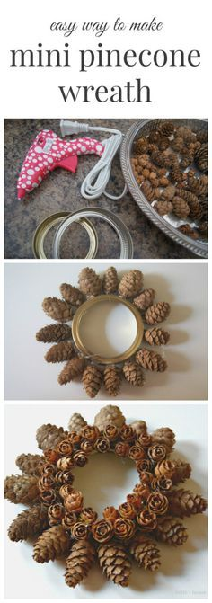 Make an easy mini pinecone wreath using tiny pinecones and a mason jar lid as your base. Pine Cone Art, Pine Cone Crafts, Wreath Crafts, Christmas Projects, Pine Cones, Fall Crafts, Holiday Crafts, Christmas Holidays, Christmas Wreaths