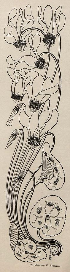 Otto Eckmann, Jugend magazine, 1896. I love the way the cyclamens heads go back, I want to paint my pink and crimson striped one.