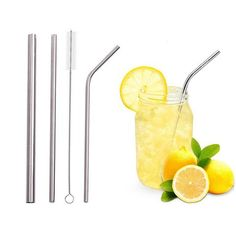 Meigar Set of 4 Stainless Steel Metal Straws Inch Reusable Drinking Straws For Tumblers Rumblers Cold Beverage Brush) Stainless Steel Straws, Stainless Steel Metal, Positano, Metal Straws, Tumblers With Lids, Digital Thermometer, Insulated Tumblers, Bar Drinks, Beverages