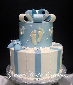 https://flic.kr/p/nYE4my | Elegant Blue and White Baby Shower Cake