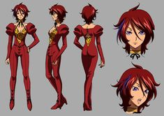 The anime character Rubis is a adult with to neck length red hair and purple eyes. Character Sheet, Character Design, Kiddy Grade, Xmen, Anime Characters, Drawing Things, Army, Templates, Youtube