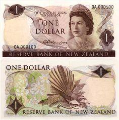 New Zealand 1 Dollar Front: HM Queen Elisabeth II; Back: Clematis plant; Nz History, One Dollar, Dollar Coin, Clematis Plants, New Zealand Houses, Elisabeth Ii, State Of Arizona, Old Money, Kiwiana