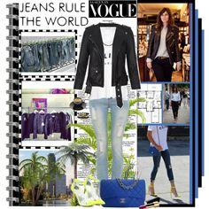 Citizen of Humanity bell bottoms white tee andblsck moto jacket