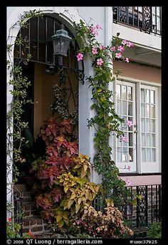 Flowered home entrance. Charleston, South Carolina