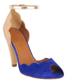 Shoes | Blue Tamara Scalloped Leather Peep Toe Shoes | Phase Eight > A peep toe shoe with mid heel, scolloped edges and ankle strap with functional buckle.
