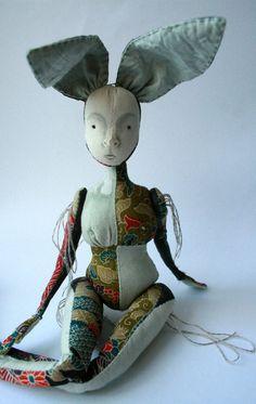 Tomo Kimono silk Cloth Art Doll Rabbit by ThePaleRook on Etsy