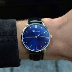 Classic Blue/S on the wrist. Free shipping worldwide - www.bonvier.com #bonvier #watches #orologi