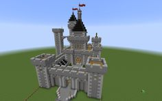 Minecraft medieval castle -Need to create depth on those towers; otherwise perfect!