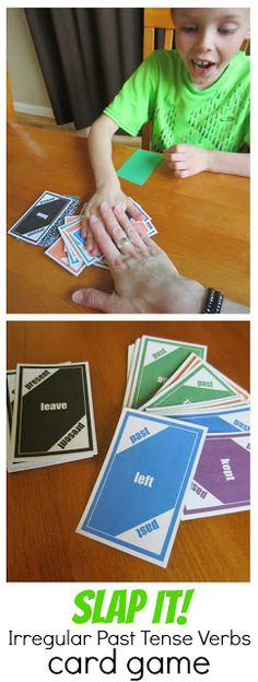 Help kids practice irregular past tense verbs (have = had, leave = left, buy = bought) with a card game similar to slap jack! Free printable cards.