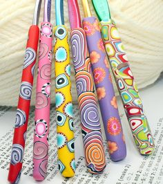 Polymer clay covered crochet hook SET of 6 by rivervalleydesign
