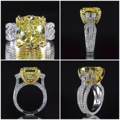 13.72ctw Fancy #Yellow #Radiant #Diamond #Ring with #Brilliant #Round Accents set in White #Gold #Engagement #Rings #Wedding