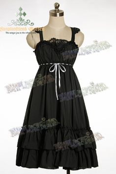 black jumper skirt dress bow ruffles lace fanplusfriend egl lolita goth gothic alternative