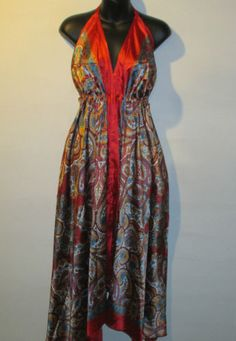 Scarf-Dress-Fits-S-M-L-XL-Sexy-Backless-Empire-Red-Blue-Paisley-Empire-Waist-NWT