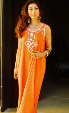 Kaftan Resort Non-Sleeve Orange Agadir Style-Perfect for  resortwear 5e9c268cb