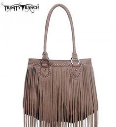 Montana West TR09-8562 Trinity Ranch Fringe Design Western Handbag Purse-Tan