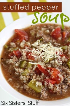 Six Sisters Stuffed Pepper Soup Recipe on MyRecipeMagic.com