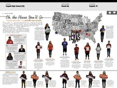 Micaela serafin- we can use this to show the diversity in our school and where each person is from and their story Student Life Yearbook, Yearbook Mods, Teaching Yearbook, Yearbook Class, Yearbook Pages, Yearbook Spreads, Yearbook Covers, Yearbook Layouts, Yearbook Design