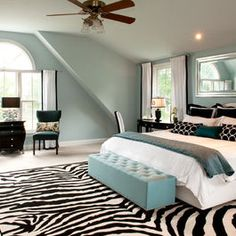 Black White And Teal Bedroom I Love The Rug The Teal Needs To Be