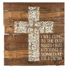 "Share your beliefs and faith with beautiful, inspiring wall art. Stained brown with a flourishing cream cross and cream text, Cling to the Old Rugged Cross Wooden Sign offers the perfect chic rustic piece of decor for your home or office. Hang it in your living room, bedroom, study, home library, and more! Dimensions: Length: 25"" Width: 24"" Thickness: 1 1/8"" Hanging Hardware: 2 - Metal Triangle Hooks (18 ..."