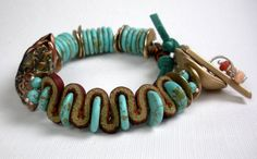 Turquoise Mixed Metal Bracelet a Beaded Bracelet with by FebraRose